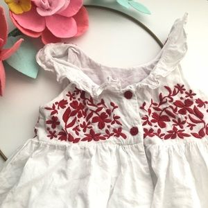 Tahari Dresses - Tahari Red floral embroidered white maxi dress